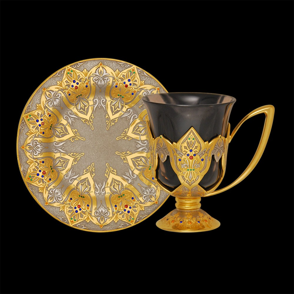Arabic coffee set decorated with alpanites, spinel, corundum, gold