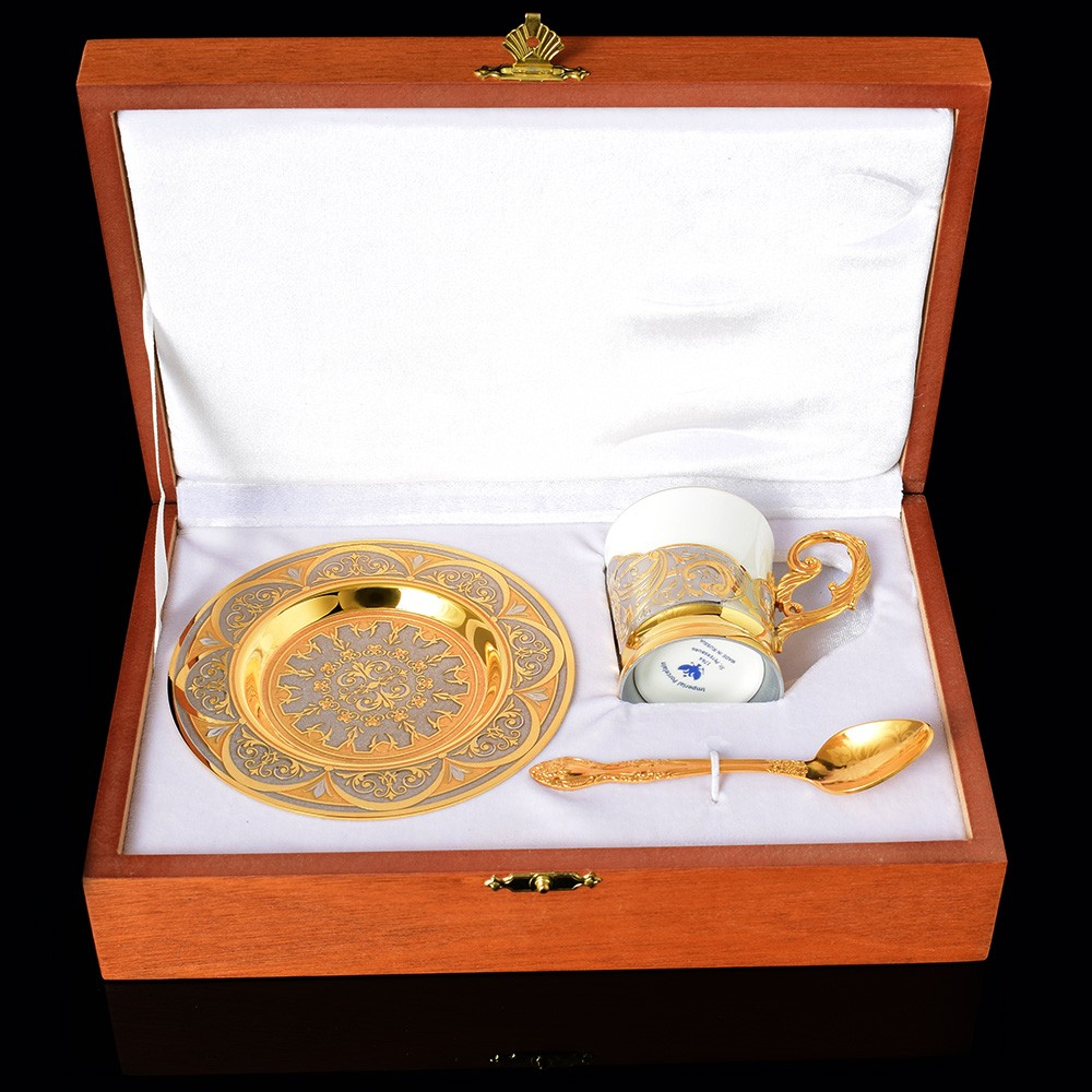 Gold and porcelain coffee set in box