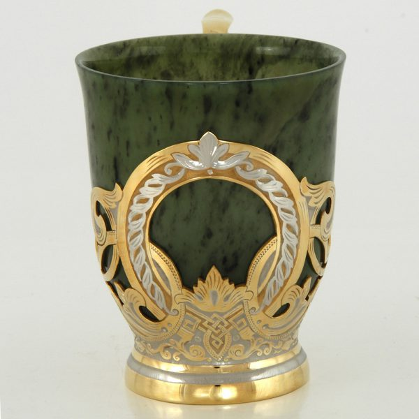 Jade mug on a gold base
