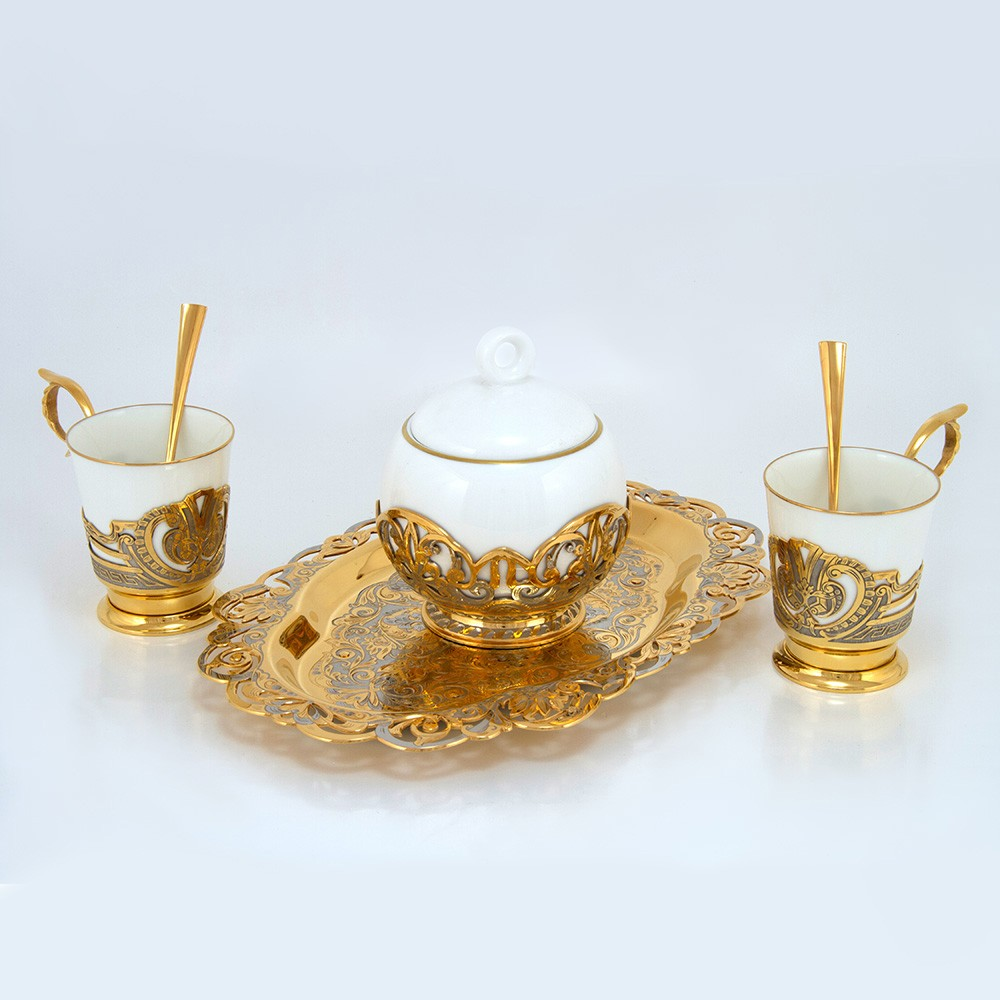 Two-person coffee set with sugar bowl and tray