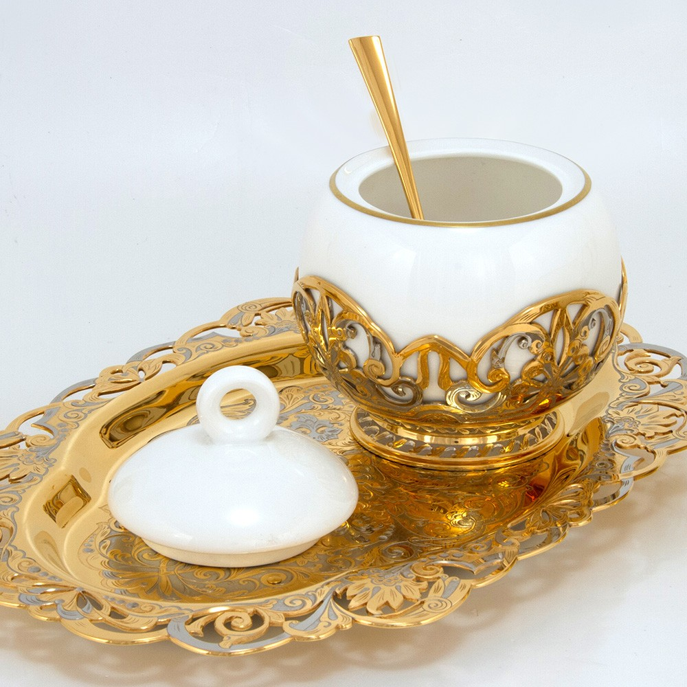 Luxurious sugar bowl made of porcelain and gold