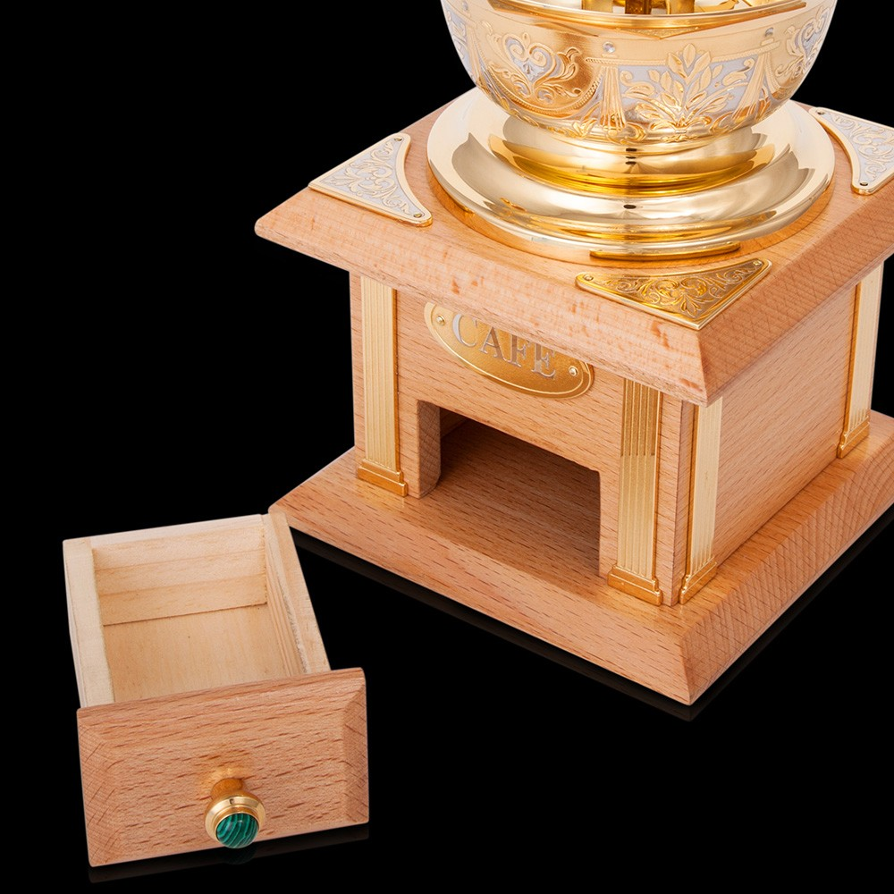 Gift coffee grinder made of wood and gold