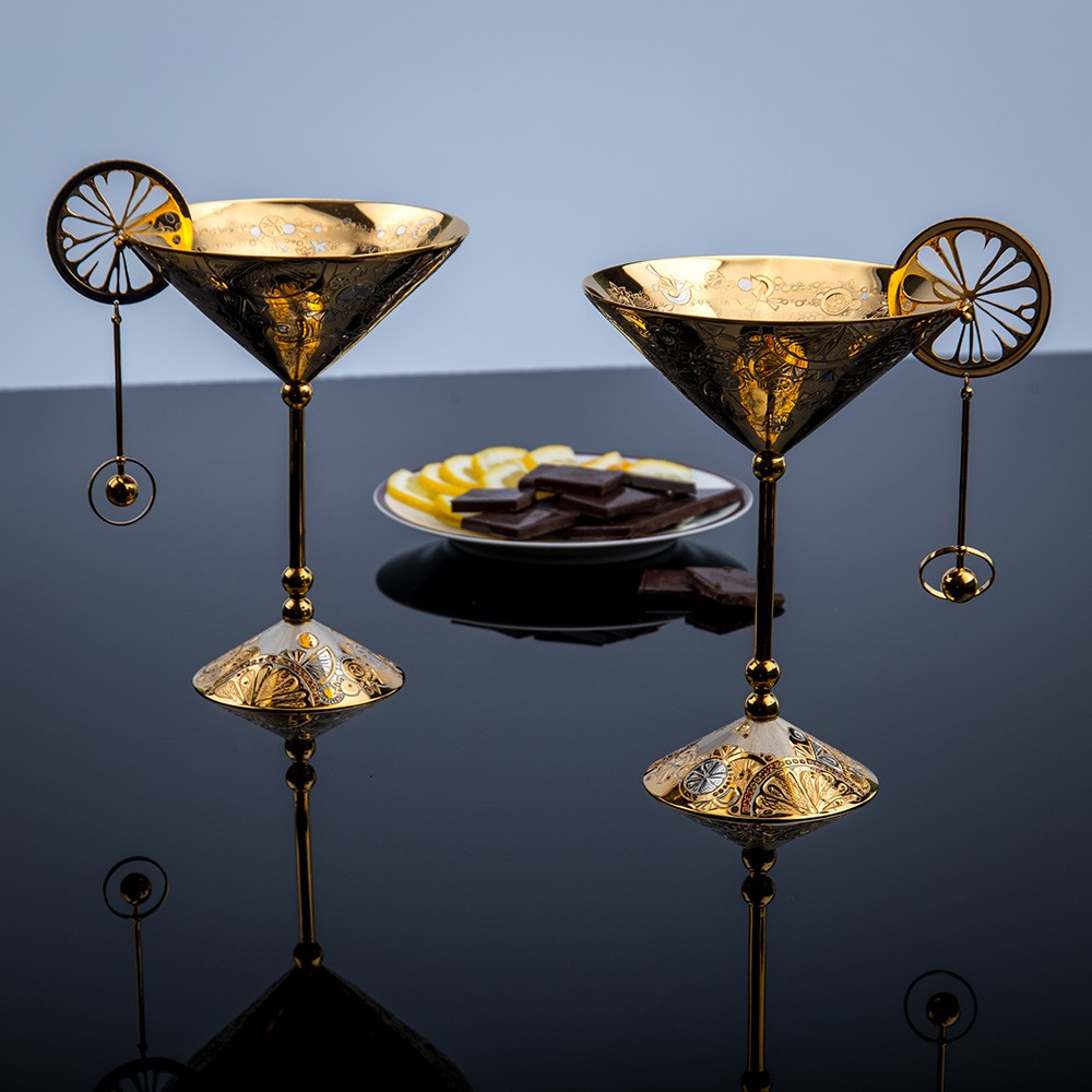 Handmade gold goblets with stylish engraving