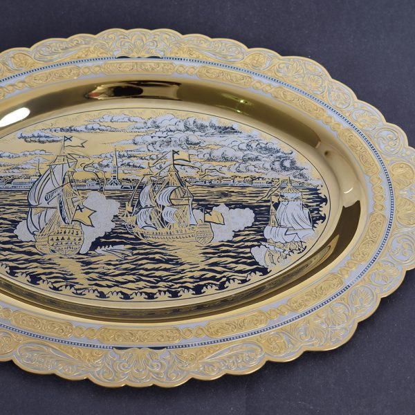 Zlatoust dishes decorated dishes. Image of St. Petersburg