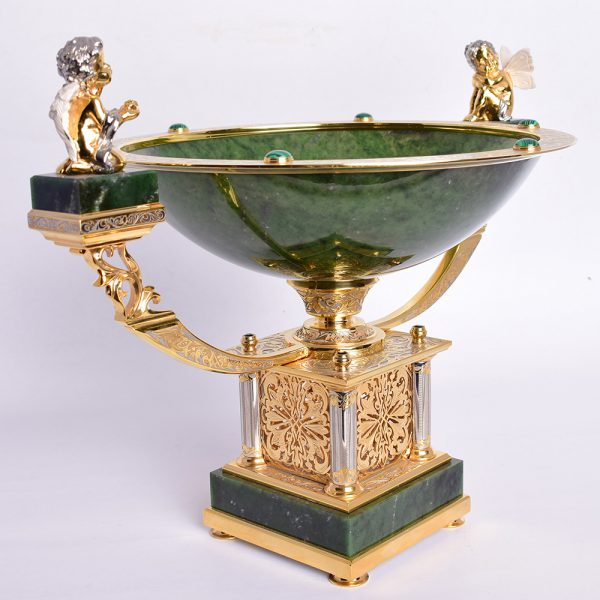 Gold base jade fruit platter
