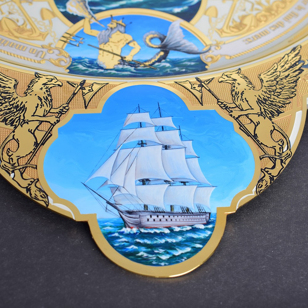Three-masted sailboat on a luxury dish