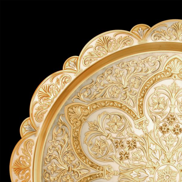 Gold dish with oriental ornament