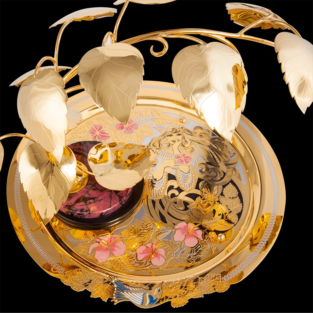 Exquisite handmade artwork - a gold dish with enamel pattern