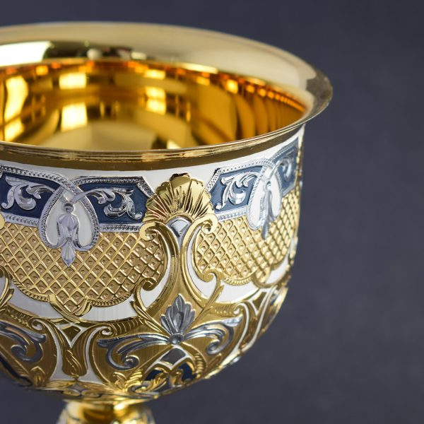 The Art of Metalworking - Gold Cup with Engraved and Enamel Pattern