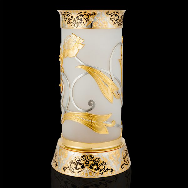 Designer vase made of frosted glass and gold. Decorated with carvings