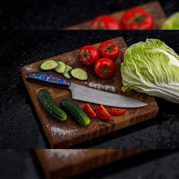 Luxurious knife for the restaurant chef. Art Damascus Blade with Metal ZlaTi Handle
