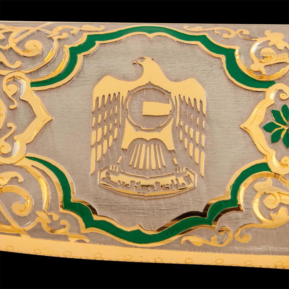 Emblem of the UAE - Golden Falcon on a knife sheath.