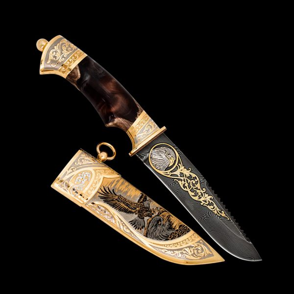 Luxurious knife with expensive decor. Suitable as a gift to a status man