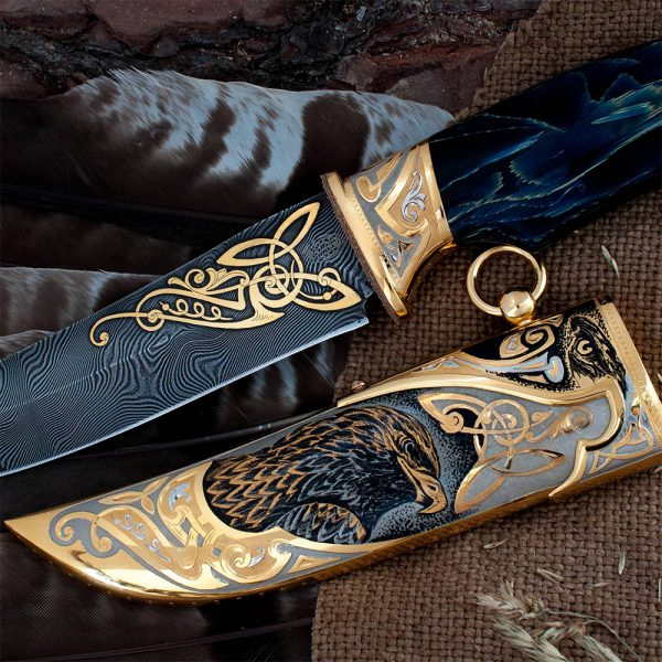 Handmade scabbard with an eagle