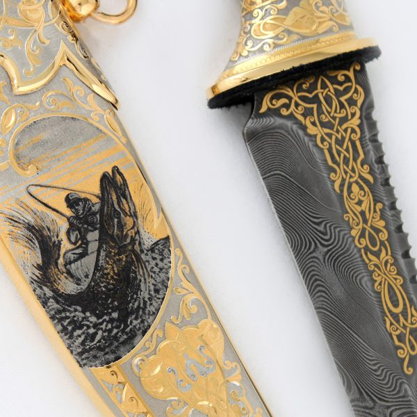 Luxurious handmade knife. Exclusive gift for men, for men who enjoy fishing.