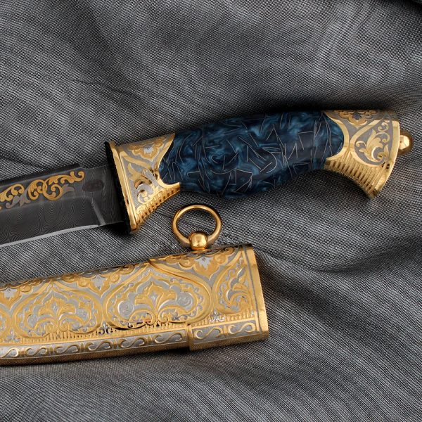 Handmade gift oriental knife with golden scabbard and stylish handle