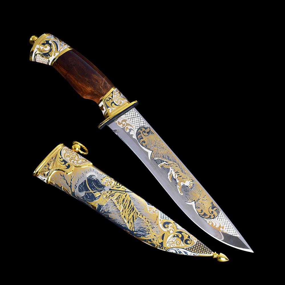 Handmade knife with a golden tiger pattern