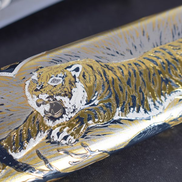 Gold Drawing - The Enraged Tiger on the Scabbard