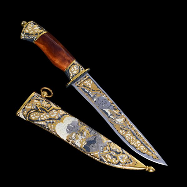Decorated gift knife for interior decoration. Luxurious handmade