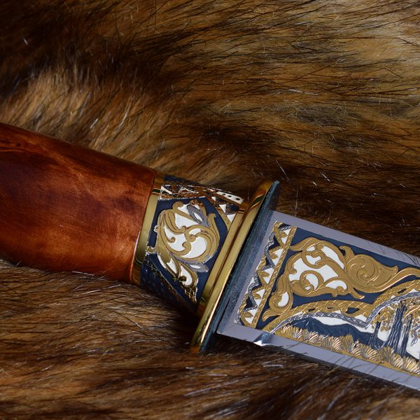 Handmade jewelry - knife decorated with art engraving, gilding and enameling