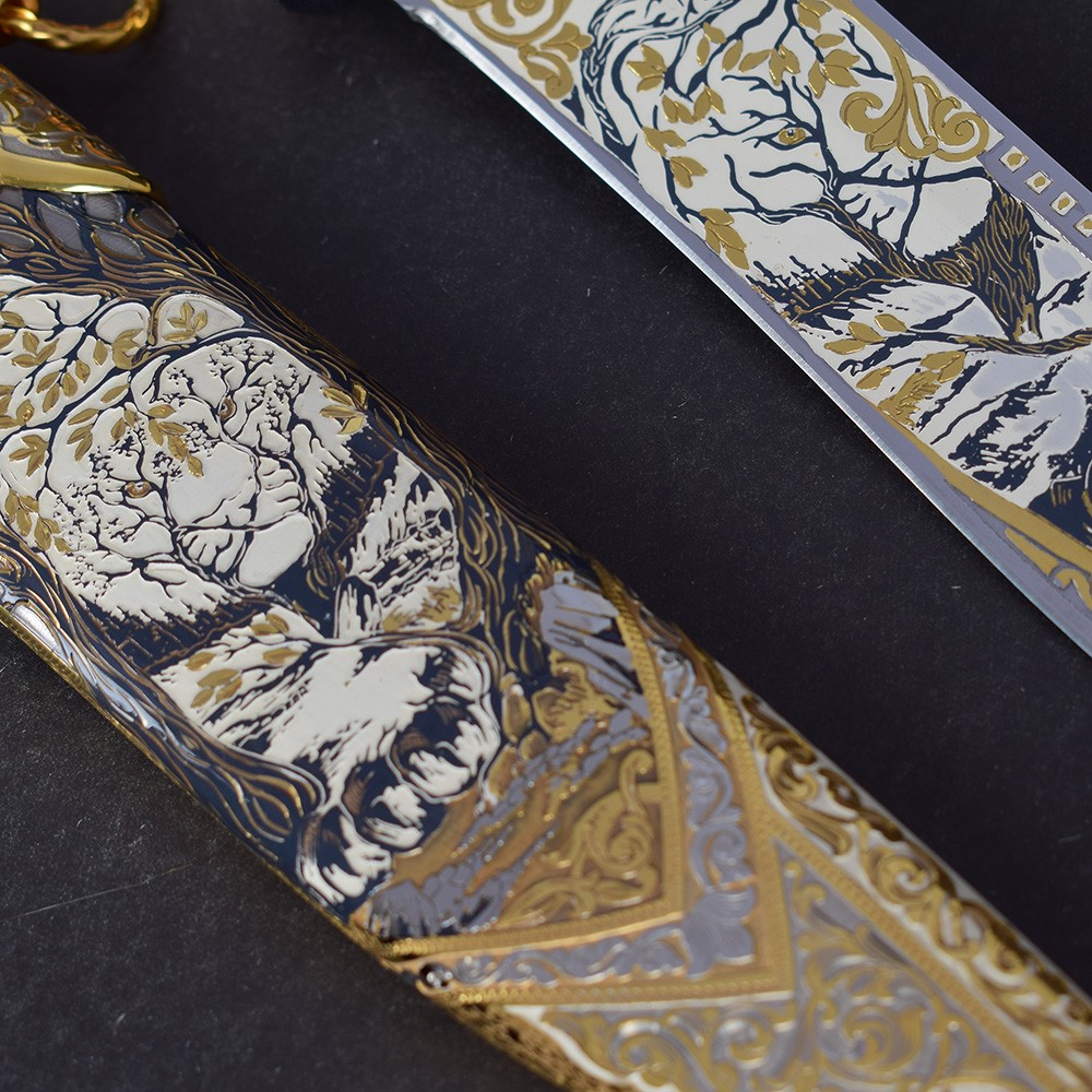 Drawing of a tree on a knife sheath. A work of art and creativity of a large team of masters from Zlatoust
