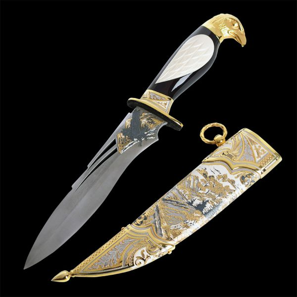 Luxurious Eagle Knife with Combined Ebony and White Bone Grip