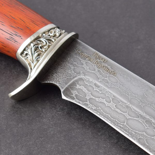 The knife of the work of Sergei Baranov is exactly what is written on the blade. The knife stands out among others for its steel