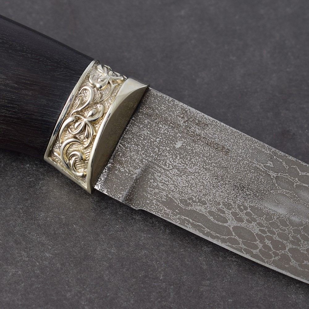 "Blade from the ancient Damascus Indians - Russian Bulat steel. On the blade the inscription ""Bulat Seregeya Baranova"""