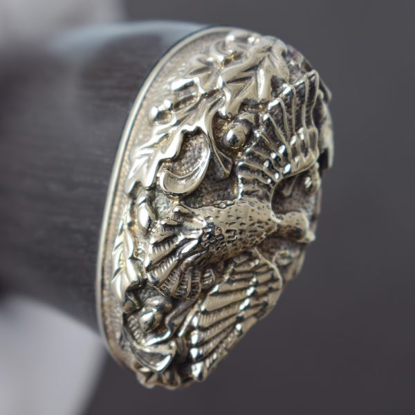 Knife ring with nickel silver casting - image of a duck