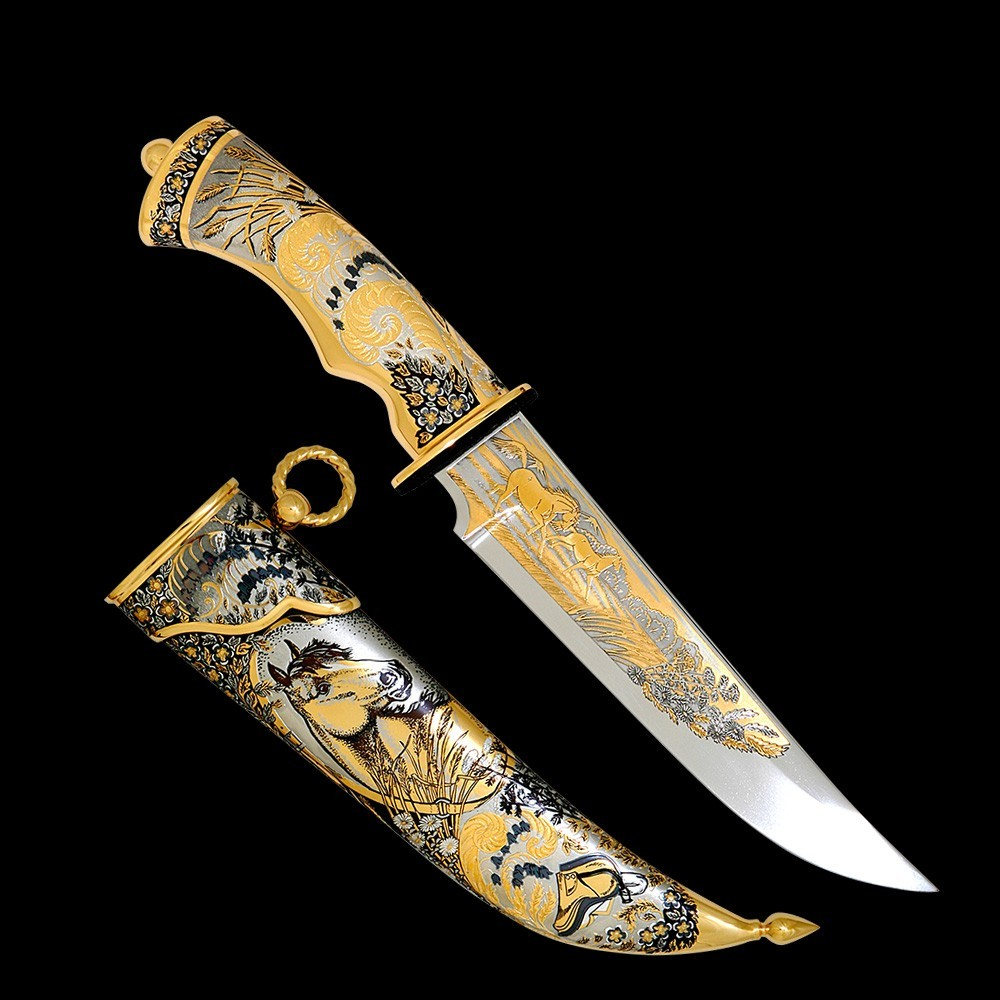 Handmade knife with artistic decoration