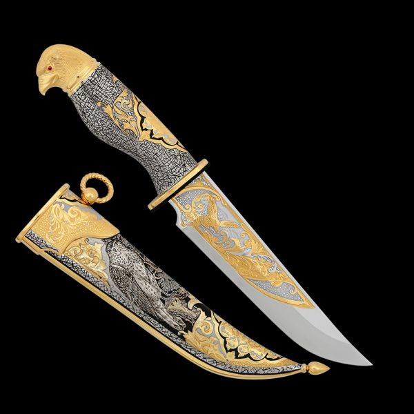 Knife - Golden Falcon. Luxurious handmade Russian gunsmiths
