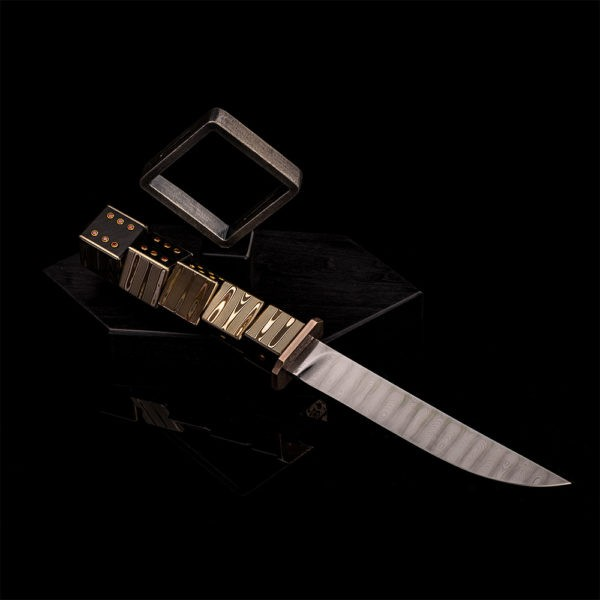 Designer knife with an exclusive blade of Damascus steel by Vladimir Gerasimov