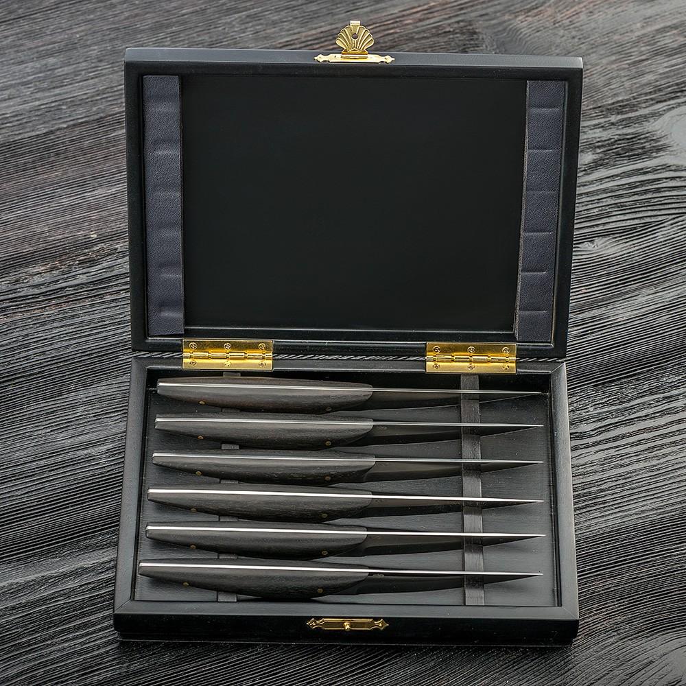 Six stylish steak knives. Handmade set.