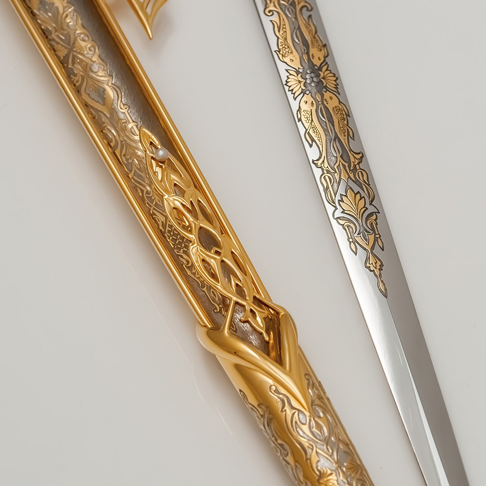Kars dagger decorated with goldfish on a blade and pearls on a sheath