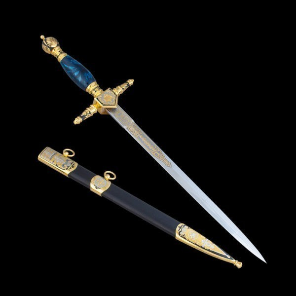 The handmade work of the Zltoutov weapons craftsmen is a souvenir dagger made of high alloy steel and blue resin hilt.