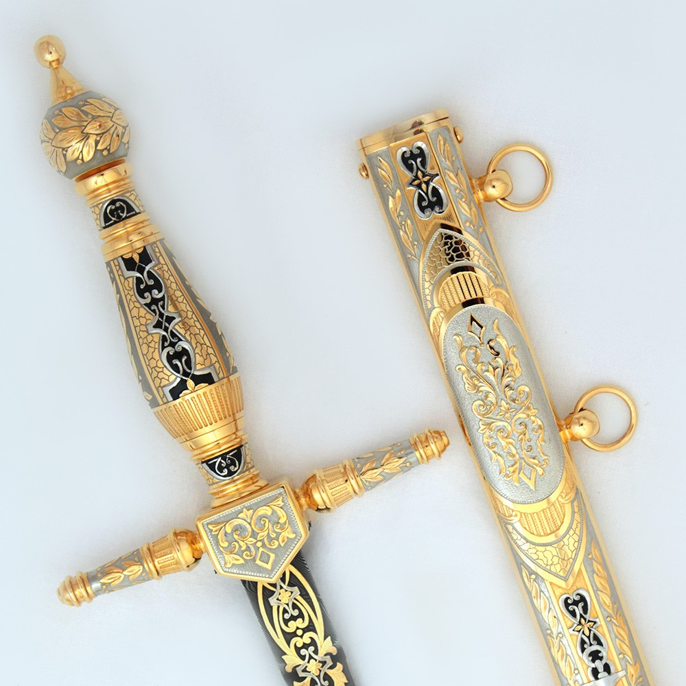 Weapons from Russia. The dagger is completely made of metal. The hilt and scabbard are covered with rich decor.