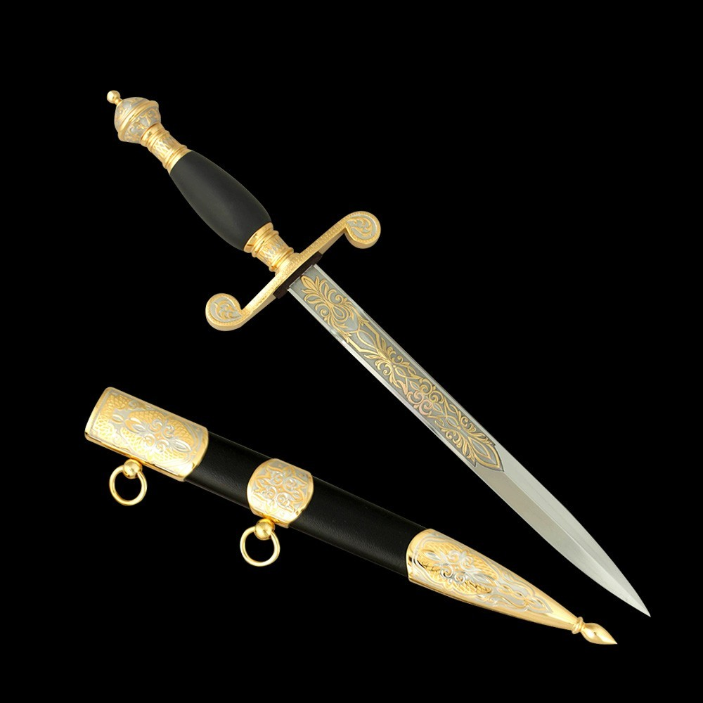 Gift dagger made of high alloy steel. The scabbard is covered with black leather and inserts from engraved metal plates.