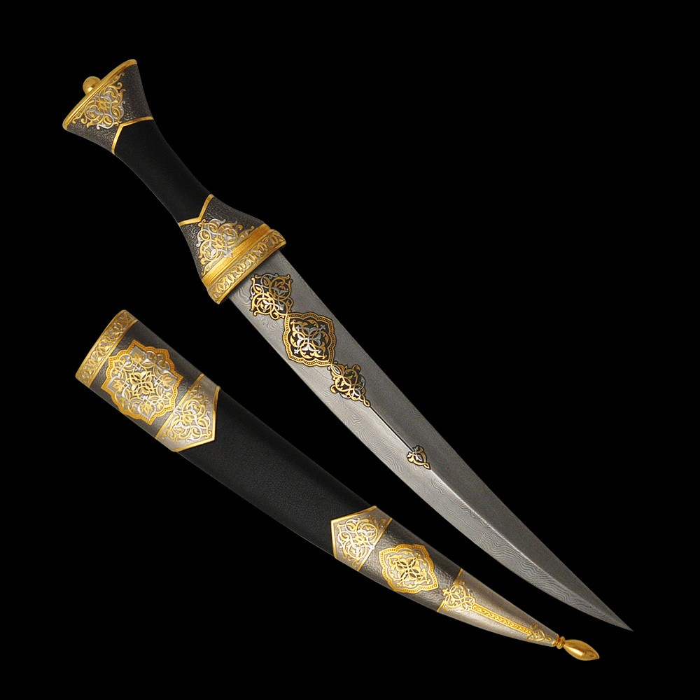 Luxurious handmade oriental dagger. A dagger made of gold and damask steel will become the center of your collection.