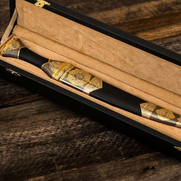 Exquisite handmade dagger in a gift box made of wood.