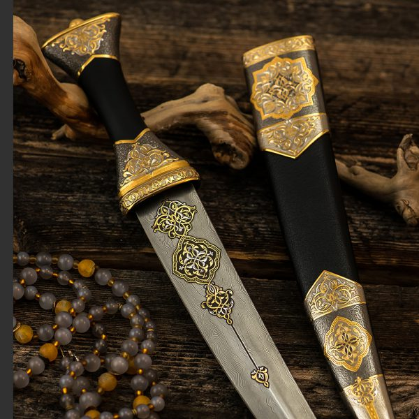 Decorative arabic dagger with luxurious engraving and oriental ornaments.