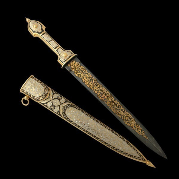 Damask steel straight dagger painted in gold.