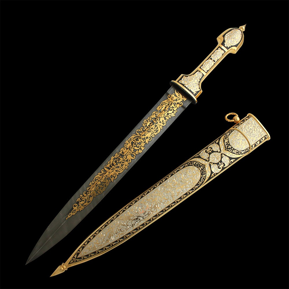 Stylistic correspondence to historical patterns, integral composition and magnificent engraving with gilding elevates this dagger to a high artistic and technical level.