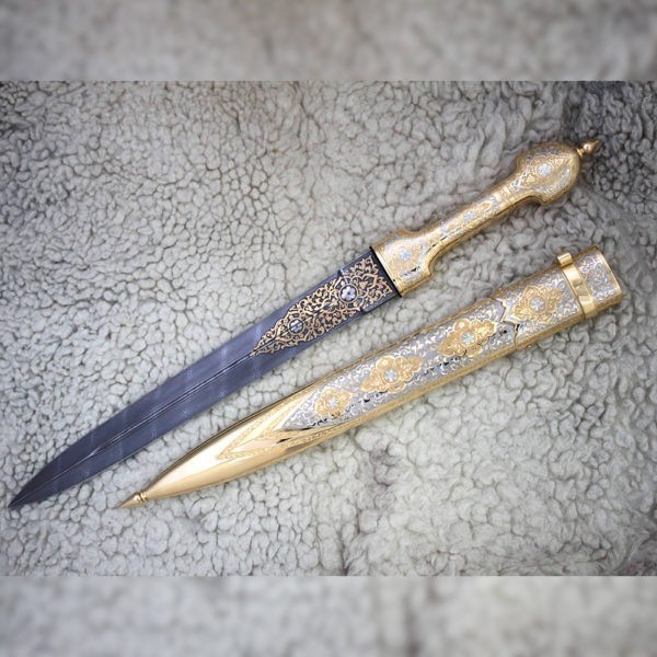Handmade double-blade dagger plated with gold.