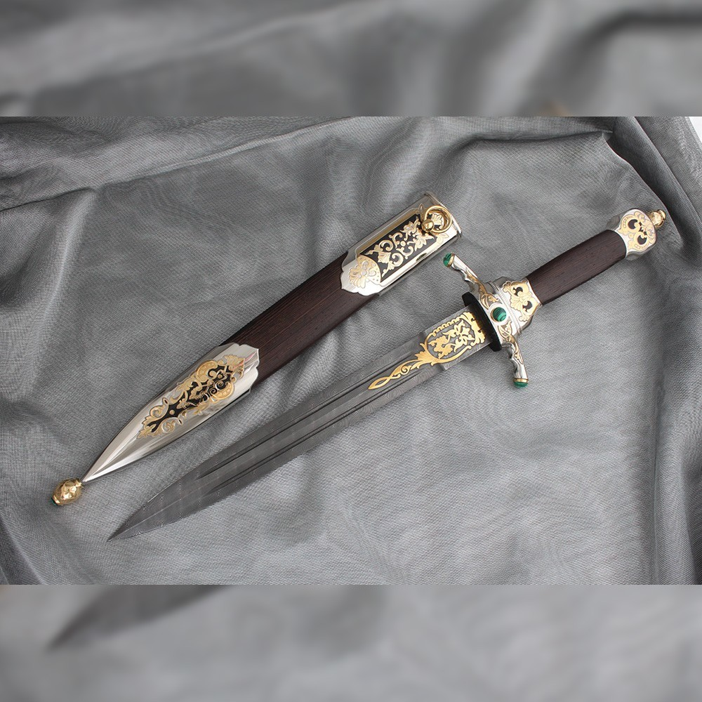 Handmade gift dagger will become a place of power in the interior of the cabinet.