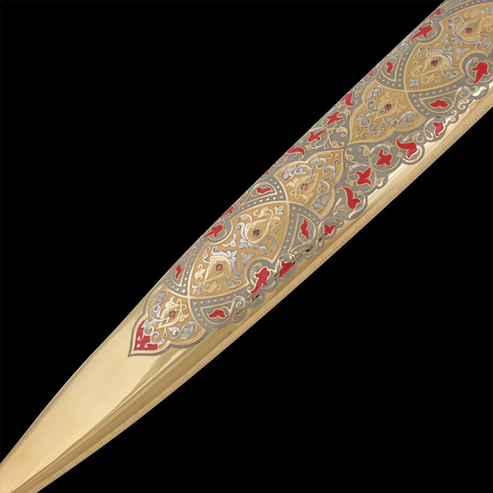Metal sheath decorated with engraving and red enamel
