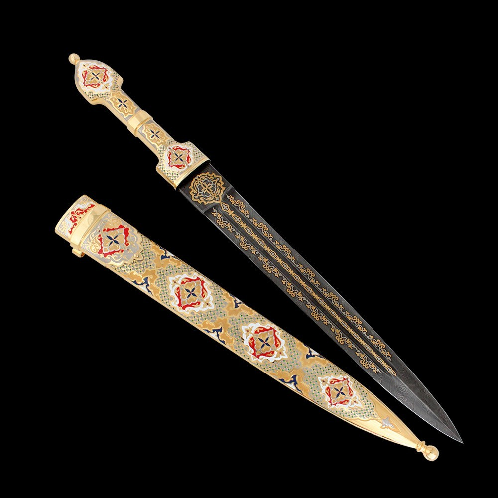 Handmade straight dagger made by Zatoustov masters. The artist with a brush covered the surface of the scabbard and hilt with red and white enamel.