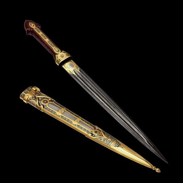 A straight strict dagger with a powerful click of damask steel was made by Russian gunsmiths. For 200 years, they have been manufacturing premium weapons for state leaders.