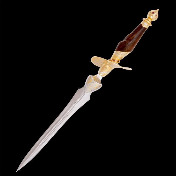 Exclusive handmade women's dagger. Richly decorated with gold and engraving.