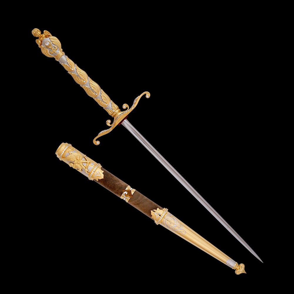 Handmade stylet with a wooden sheath decorated with gold and stones