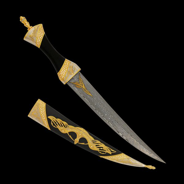 """The """"Savior"""" dagger is modeled on the Persian dagger which is a melee weapon with a short, curved double-edged blade. Structurally, Persian daggers are similar to Turkish, but they are more elegant and slightly smaller in size."""